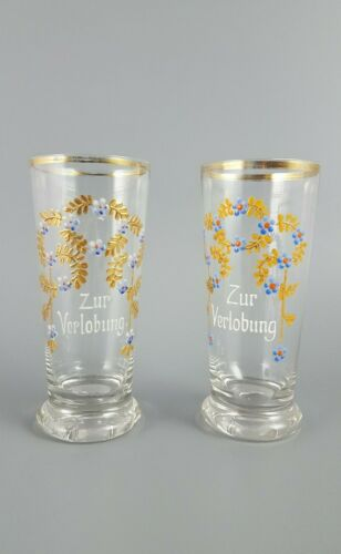 Two Glasses With Hand Painted Еnamel ZUR VERLOBUNG/For Engagement, Germany, 1900