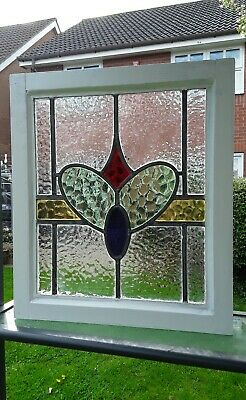 VINTAGE 1930 STAINED GLASS WINDOW