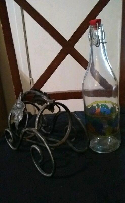 Vintage Clear Glass Wine Bottle with fruit and vintage wine holder