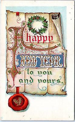 NEW YEAR GREETING Postcard, ARTS & CRAFTS STYLE   c1910s   Embossed - New Year Crafts