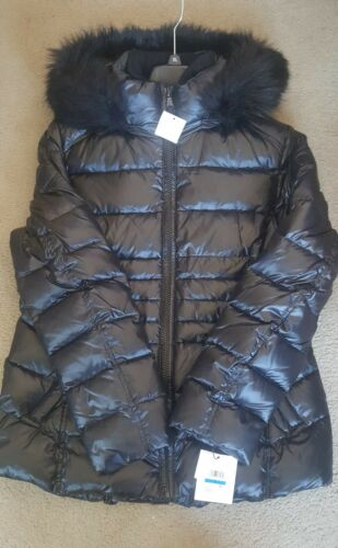 NWT Calvin Klein Faux-Fur-Trim Down Puffer Coat Black Women'