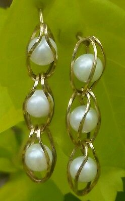 Vintage 14k Yellow Gold Pearl Dangle Earrings Estate Jewelry Ladies