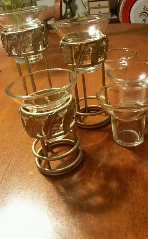 3 Lot Candle Stand Votives Gold Tone Christmas Around the World Various Heights