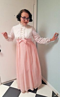 VTG 70s Evening Gown Pink & White Lace Party Prairie Dress Boho Polka Dot Sz S
