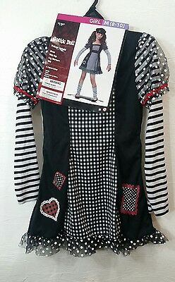 NWT-Girls 4 Pc Black & White Gothic Doll Halloween Costume-girls M 8/10 - Black And White Doll Halloween Costume