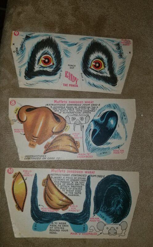 1952 Muffets Shredded Wheat CIRCUS Cards Randy the Panda Set (3) NM-MT