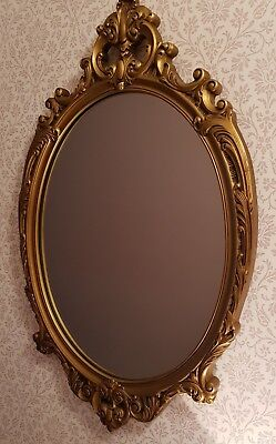 Vintage mirror oval gilt