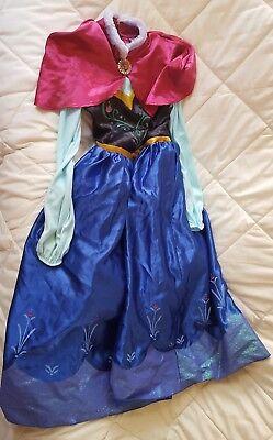 Sz 9/10 Elsa Anna Princess Girls Halloween Cosplay Costume Fancy Dress w cape (Anna Costume Adult)