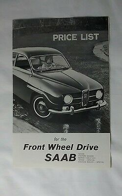 SAAB Sedan Station Wagon Monte Carlo Price List Advertising Vintage Car c. 1967 for sale  Shipping to Canada