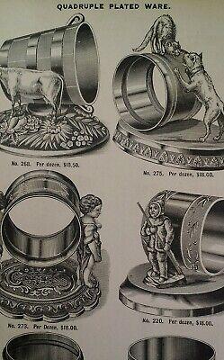 Napkin Ring Antique 1881 Catalog Page Clapp Chicago Rare VHTF Dog Cat Cow