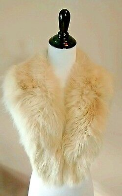 Vintage Fox Fur Stole Ivory Off White Detachable Collar Genuine Real