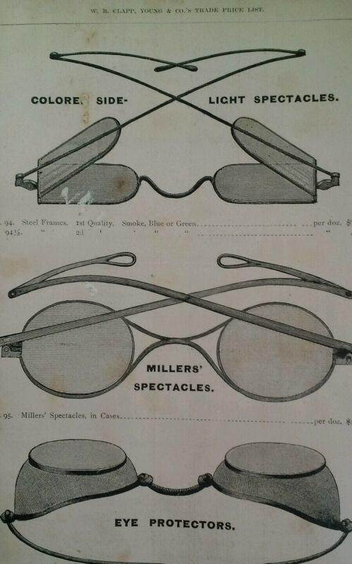 Spectacles Glasses Antique Steel 1881 Catalog Page Clapp Chicago Rare VHTF 90