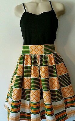 New African Kente Print Women Skirt w/Two Pocket& Earring S z L (A)