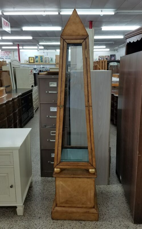 Vintage Neoclassical Leather Clad Obelisk Display Cabinet On  Gilt Wood Balls P
