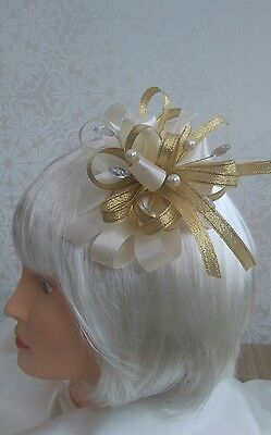 Beautiful cream & gold fascinator with pearls and jewels NEW