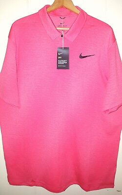 Tiger Woods Nike Golf Snap-up Polo Shirt Mens Large NWT $100.00 Infrared Crimson