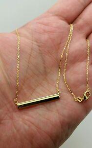 14k Yellow Gold Bar Pendant Diamond Cut Cable Necklace Pendant Chain Engravable