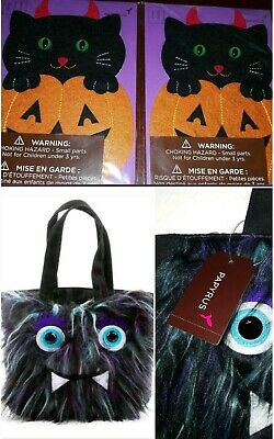 LOT 3 HALLOWEEN PAPYRUS BLACK CAT IN PUMPKIN CARDS & FURRY MONSTER  TREAT BAG