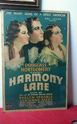 Vintage Harmony Lane mascot picture evelyn venable movie poster 1934 Hollywood
