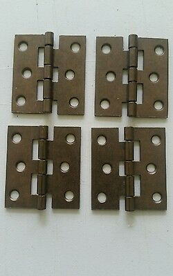 4 matching vintage brass plated 1 3/4 by 2 inch hinges