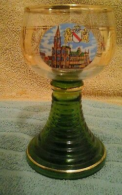 VTG. STRASBOURG,GERMANY; Olive Green Glass Wine Goblet with Hand Painted Scene
