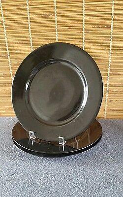 Fitz and Floyd (3) Black Dinner Plates MCMLXXVIII Japan 10-1/4in