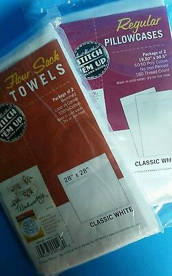 Aunt Martha's White Flour Sack Towels & Pillowcases for Embroidery