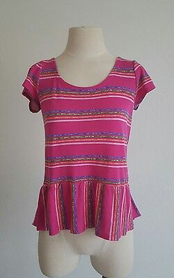 - Splendid Small Pink Multicolor Striped Spring Summer Peplum Casual Feminine USA