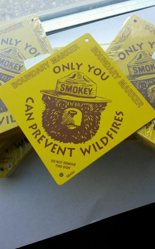 1  Diamond shaped Smokey Bear Boundary Markers.SMOKEY WOODCUT LOOK IMAGE.