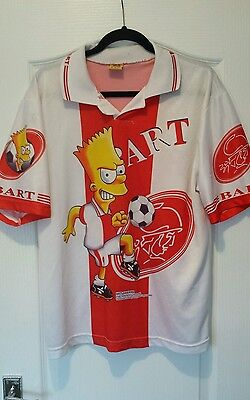 90s Bart Simpson Football Shirt Ajax Large Official Simpsons Soccer Jersey