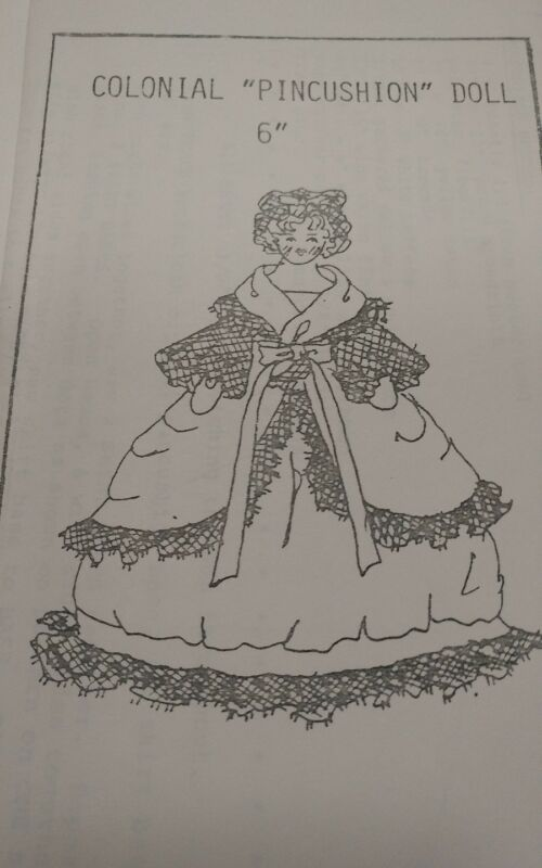 "Vintage 6""  Colonial  Pin Cushion Doll and Dress Pattern TDI"