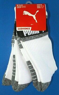 Puma Mens Half Terry Crew Socks 3 Pack Large White Black Grey Athletic Cushioned