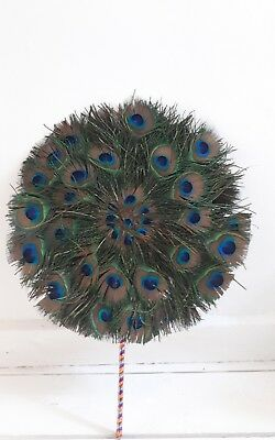 PEACOCK FEATHER ROUND FAN  BURLESQUE