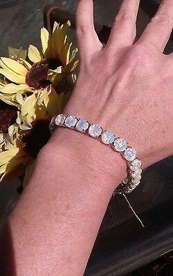 Round 9mm White Opal Tennis Bracelet, Rhodium/925 Silver, Size 8.0