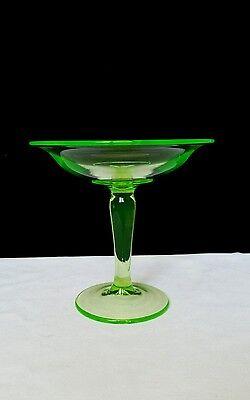 Antique Green Vaseline Depression Glass Pedestal Compote