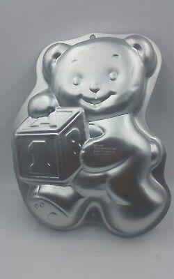 Wilton Cake Pan Teddy Bear W Block 1st Birthday 1995 2105 8257 Aluminum