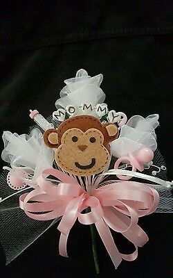 Baby shower MOMMY monkey corsage boy or girl pink or blue jumgle theme  - Monkey Baby Shower Theme
