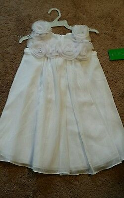 Nwt Sophia Young Design Limited Girls Dress Size 4 White Roses Flower Girl