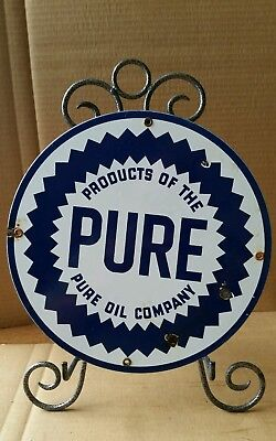 PURE  OIL PORCELAIN PUMP PLATE SIGN