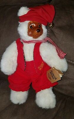 "Robert Raikes Artisan Santa Elf Bear Red Outfit Hang & Tush Tags 12"" Plush 1989"
