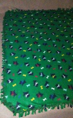 Fleece Handmade Tie Blanket Throw or Oversized Baby Approx 50X60 Scotty Dog