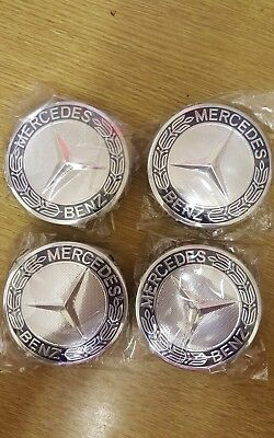 4x Mercedes Benz Alloy Wheel Centre Caps 75mm Badges Blue Hub Emblem