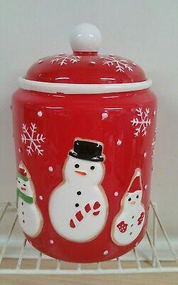 Hallmark snowflakes with snowman ceramic cookie jar