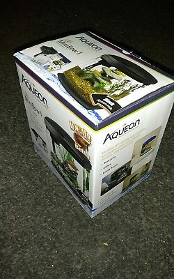 AQUEON PRODUCTS LED Minibow Aquarium Kit, 1 gallon, Black with flat heater. Used