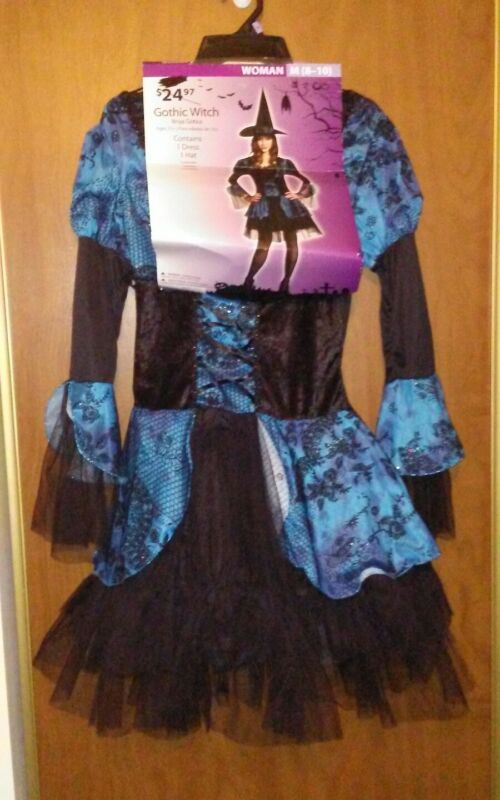 Gothic Witch Costume Black & Blue w/ hat medium 8-10 NWT above knee skirt long s