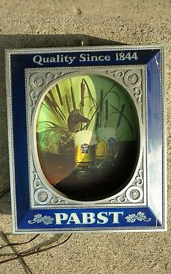 VINTAGE Pabst Light Up Beer Sign, Man Cave, Tavern Collectible. Duck Background for sale  Crawfordsville