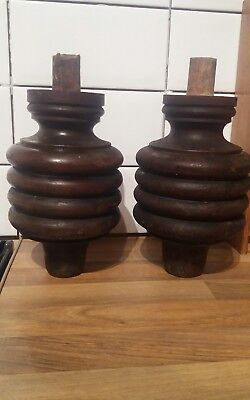 Antique Victorian Solid Oak Turned Feet x2 Reclaimed * Free Uk mainland Postage