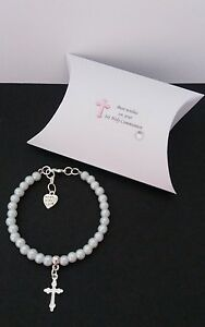 1st Holy Communion / Confirmation  bracelet + cross charm + gift box