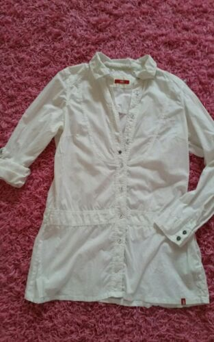 Edc by Esprit long turn up Bluse Long bluse Krempelbluse Gr. L ♡ weiss wNeu