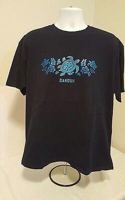 Cancun Light - Cancun light blue turtles flowers graphic tshirt dark blue Size XL 100% Cotton
